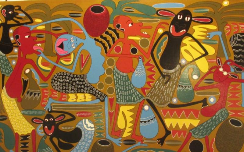 Un quadro stile picasso africano del centre cultural heritage di Arusha