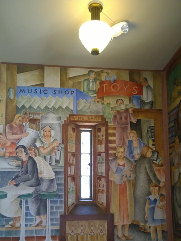 Il murales del primo piano dell'interno della coit tower di san francisco