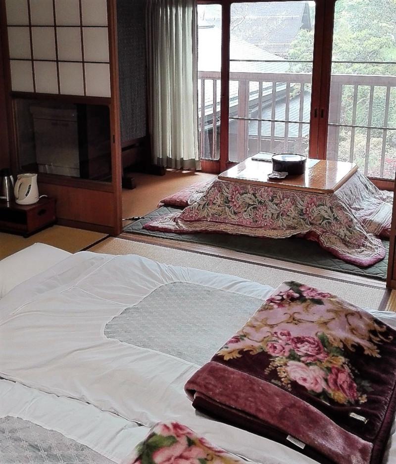 La camere del tempio buddista Shojoshin-in con i futon