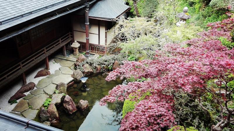 L'esterno del tempio Shojoshin-in circondato da giardini zen e laghetto