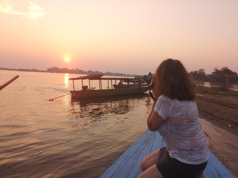 Fotografare un tramonto sul Mekong in Laos