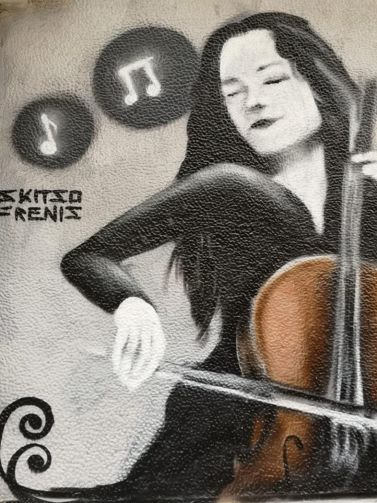 Un murales a tema muscale di Exarchia